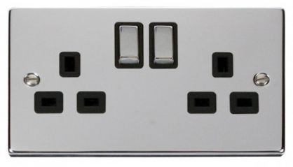 Scolmore Click Deco VPCH536BK 2 Gang 13A DP Ingot Switched Socket Outlet - Black