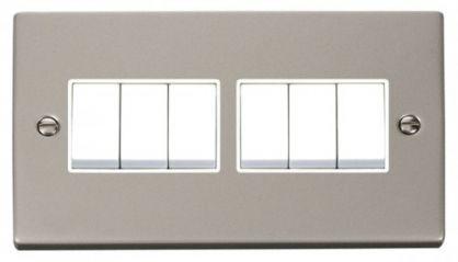 Scolmore Click Deco VPPN105WH 6 Gang 2 Way 10AX Switch - White