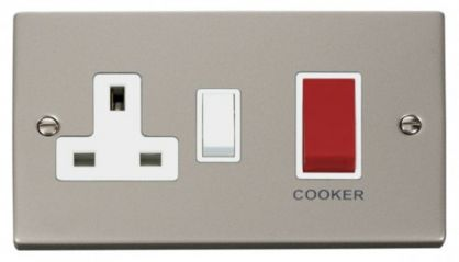 Scolmore Click Deco VPPN204WH 45A DP Switch + 13A Switched Socket - White