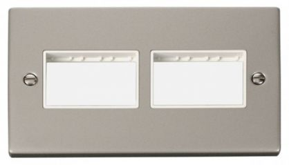 Scolmore Click Deco VPPN406WH 2 Gang Plate (3 x 3) Aperture - White