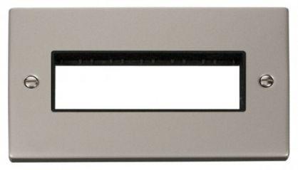 Scolmore Click Deco VPPN426BK 2 Gang Plate 6 In-Line Aperture - Black