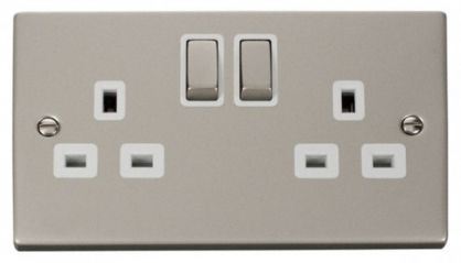 Scolmore Click Deco VPPN536WH 2 Gang 13A DP Ingot Switched Socket Outlet - White