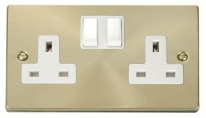 Scolmore Click Deco VPSB036WH 2 Gang 13A DP Switched Socket Outlet - White