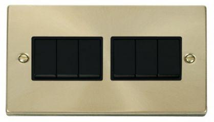 Scolmore Click Deco VPSB105BK 6 Gang 2 Way 10AX Switch - Black