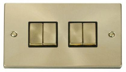 Scolmore Click Deco VPSB414BK 4 Gang 2 Way Ingot 10AX Switch - Black