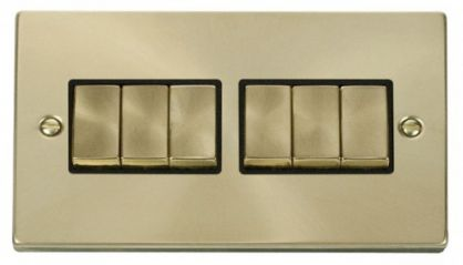Scolmore Click Deco VPSB416BK 6 Gang 2 Way Ingot 10AX Switch - Black