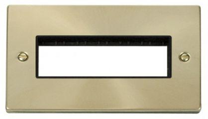 Scolmore Click Deco VPSB426BK 2 Gang Plate 6 In-Line Aperture - Black