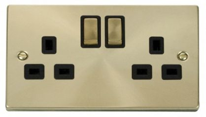 Scolmore Click Deco VPSB536BK 2 Gang 13A DP Ingot Switched Socket Outlet - Black