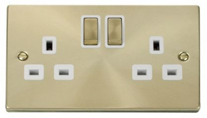 Scolmore Click Deco VPSB536WH 2 Gang 13A DP Ingot Switched Socket Outlet - White