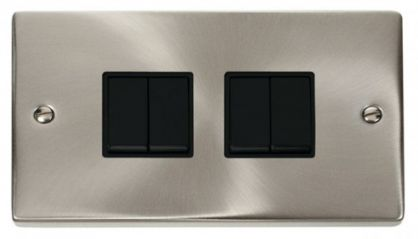 Scolmore Click Deco VPSC019BK 4 Gang 2 Way 10AX Switch - Black