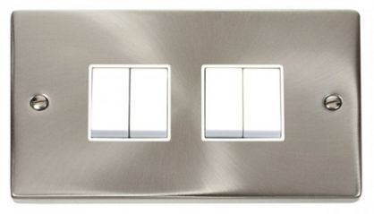 Scolmore Click Deco VPSC019WH 4 Gang 2 Way 10AX Switch - White