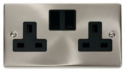 Scolmore Click Deco VPSC036BK 2 Gang 13A DP Switched Socket Outlet - Black