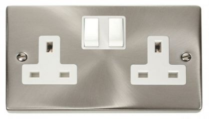 Scolmore Click Deco VPSC036WH 2 Gang 13A DP Switched Socket Outlet - White