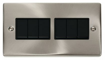 Scolmore Click Deco VPSC105BK 6 Gang 2 Way 10AX Switch - Black