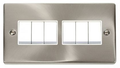 Scolmore Click Deco VPSC105WH 6 Gang 2 Way 10AX Switch - White