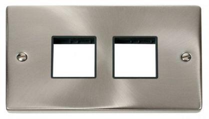 Scolmore Click Deco VPSC404BK 2 Gang Plate (2 x 2) Aperture - Black