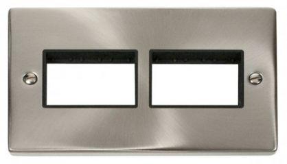 Scolmore Click Deco VPSC406BK 2 Gang Plate (3 x 3) Aperture - Black