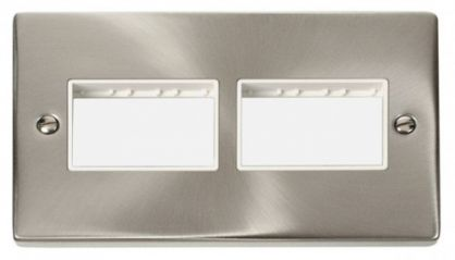 Scolmore Click Deco VPSC406WH 2 Gang Plate (3 x 3) Aperture - White