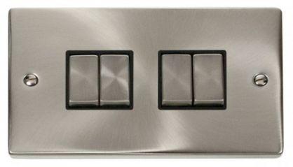 Scolmore Click Deco VPSC414BK 4 Gang 2 Way Ingot 10AX Switch - Black