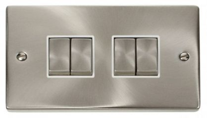 Scolmore Click Deco VPSC414WH 4 Gang 2 Way Ingot 10AX Switch - White