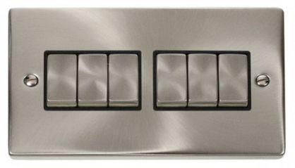 Scolmore Click Deco VPSC416BK 6 Gang 2 Way Ingot 10AX Switch - Black