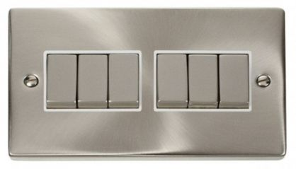 Scolmore Click Deco VPSC416WH 6 Gang 2 Way Ingot 10AX Switch - White