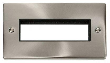 Scolmore Click Deco VPSC426BK 2 Gang Plate 6 In-Line Aperture - Black