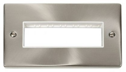 Scolmore Click Deco VPSC426WH 2 Gang Plate 6 In-Line Aperture - White