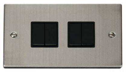 Scolmore Click Deco VPSS019BK 4 Gang 2 Way 10AX Switch - Black