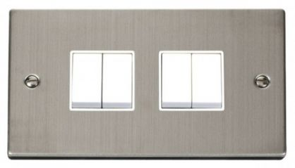 Scolmore Click Deco VPSS019WH 4 Gang 2 Way 10AX Switch - White