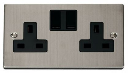 Scolmore Click Deco VPSS036BK 2 Gang 13A DP Switched Socket Outlet - Black