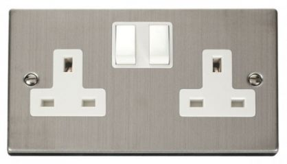 Scolmore Click Deco VPSS036WH 2 Gang 13A DP Switched Socket Outlet - White