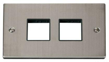 Scolmore Click Deco VPSS404BK 2 Gang Plate (2 x 2) Aperture - Black