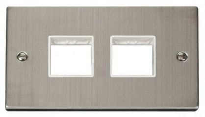 Scolmore Click Deco VPSS404WH 2 Gang Plate (2 x 2) Aperture - White