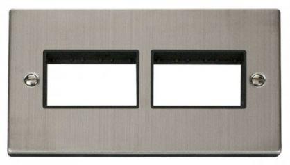 Scolmore Click Deco VPSS406BK 2 Gang Plate (3 x 3) Aperture - Black