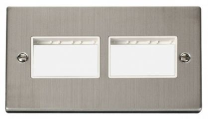 Scolmore Click Deco VPSS406WH 2 Gang Plate (3 x 3) Aperture - White