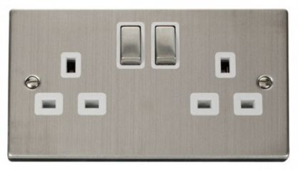 Scolmore Click Deco VPSS536WH 2 Gang 13A DP Ingot Switched Socket Outlet - White