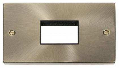Scolmore Click Deco VPAB432BK Double Minigrid Plate Triple Aperture - Black