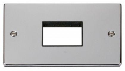 Scolmore Click Deco VPCH432BK Double Minigrid Plate Triple Aperture - Black
