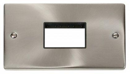 Scolmore Click Deco VPSC432BK Double Minigrid Plate Triple Aperture - Black