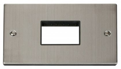 Scolmore Click Deco VPSS432BK Double Minigrid Plate Triple Aperture - Black