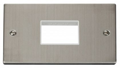 Scolmore Click Deco VPSS432WH Double Minigrid Plate Triple Aperture - White