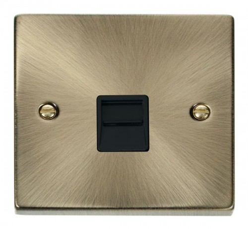 Buy VPAB Antique Brass Click Telephone Sockets| PEC Lights