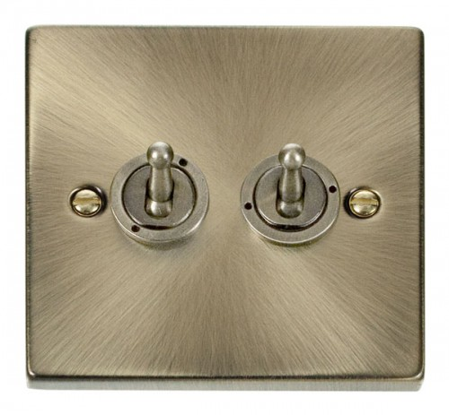 Buy VPAB Antique Brass Click Toggle Switches | PEC Lights