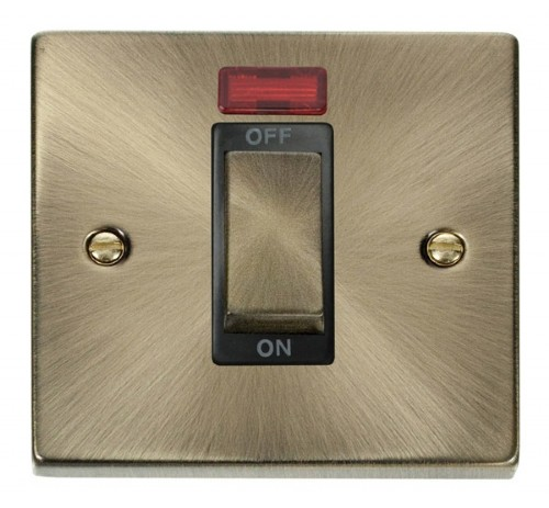 Buy VPAB Antique Brass 45A Cooker Sockets | PEC Lights