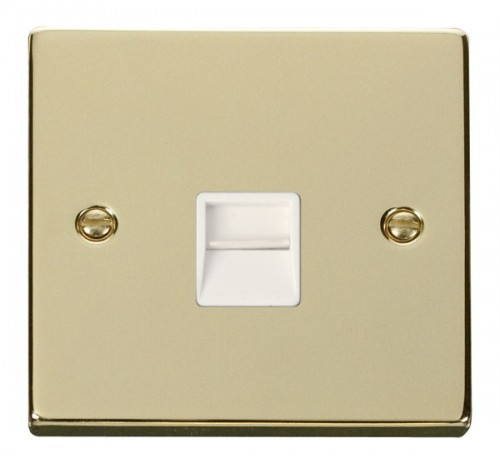 Buy VPBR Polished Brass Click Telephone Sockets| PEC Lights