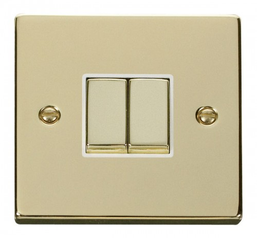 Buy VPBR Polished Brass Click 2 Gang Switches | PEC Lights