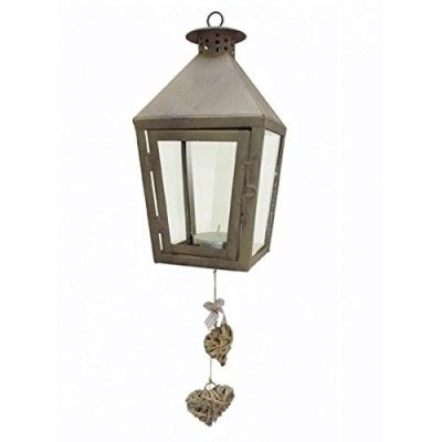 Hanging Candle Lantern with Willow Hearts