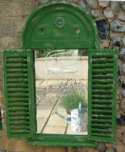 Shuttered Mirror (Green, Acrylic, Distressed-style)