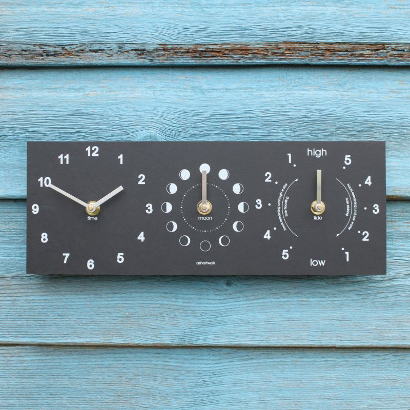 Moon, Tide and Time Clock - Recycled
